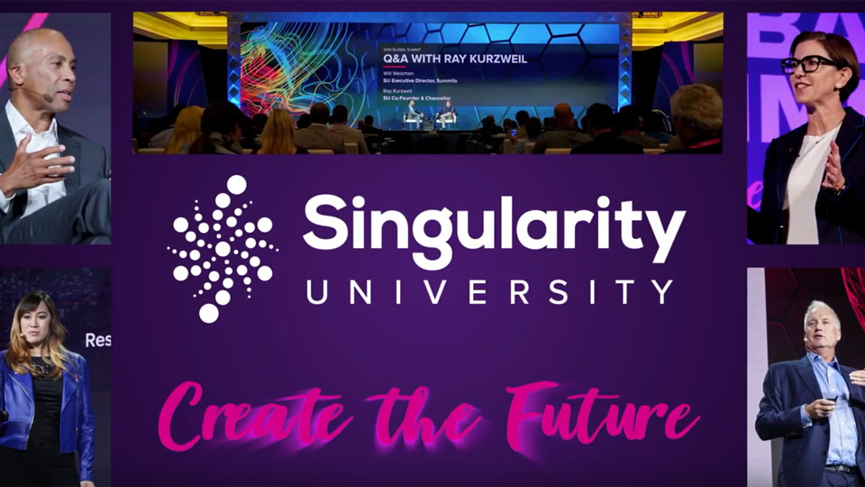 an image with the a logo for singularity                                  university and the text 'create the future' overlayed with a crowd watching a presentation and the pictures of four presenters