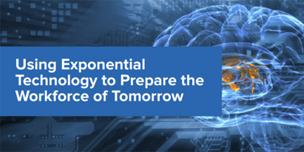 an image with text that reads 'using exponential technology to prepare the workforce of tomorrow' over a background with a digital image of a brain and computer circuitry